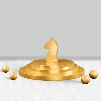 Ícone de cavalo dourado isolado renderização em 3d