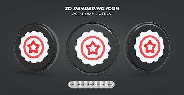 Ícone de classificação de engrenagem preto e branco em renderização 3d
