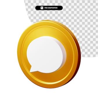 Ícone de comentário de renderização 3d isolado
