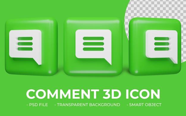 Ícone de comentário ou mensagem em renderização 3d isolado
