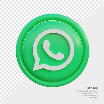 Ícone de conceito de logotipo estilo whatsapp 3d em redondo isolado