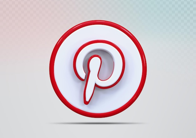 Ícone de conceito renderização em 3d no pinterest