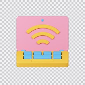 Ícone de conexão wifi isolado na imagem renderizada 3d branca