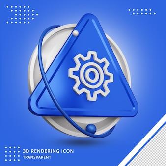 Ícone de configurações na renderização 3d