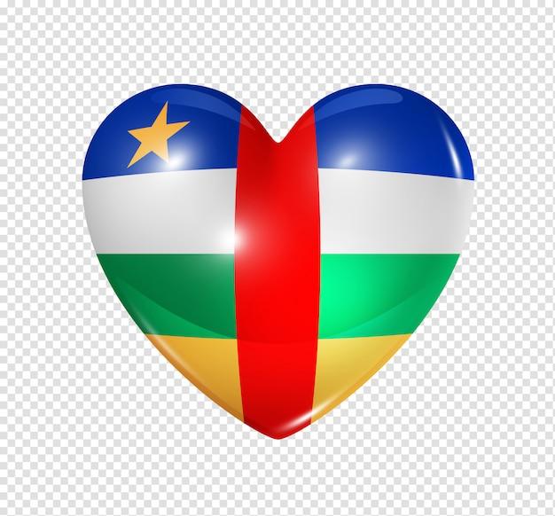 Ícone de coração com bandeira da república centro-africana