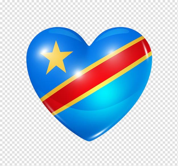 Ícone de coração com bandeira da república democrática do congo