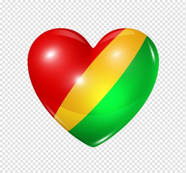 Ícone de coração com bandeira da república do congo