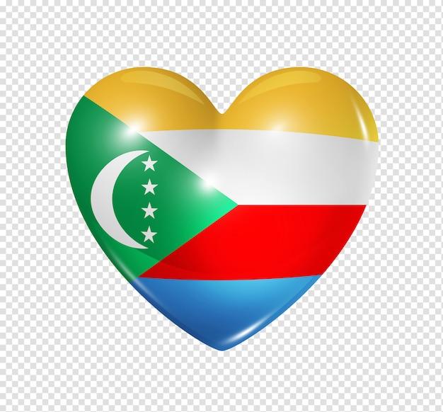 Ícone de coração com bandeira das comores