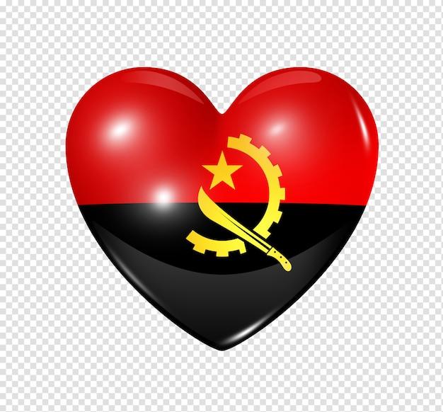 Ícone de coração com bandeira de angola