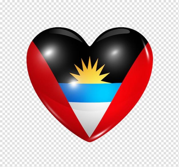 Ícone de coração com bandeira de antígua e barbuda Psd Premium