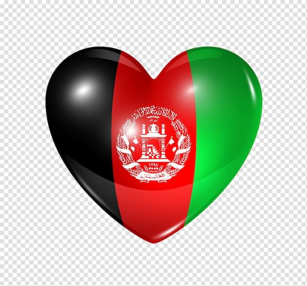 Ícone de coração com bandeira do afeganistão