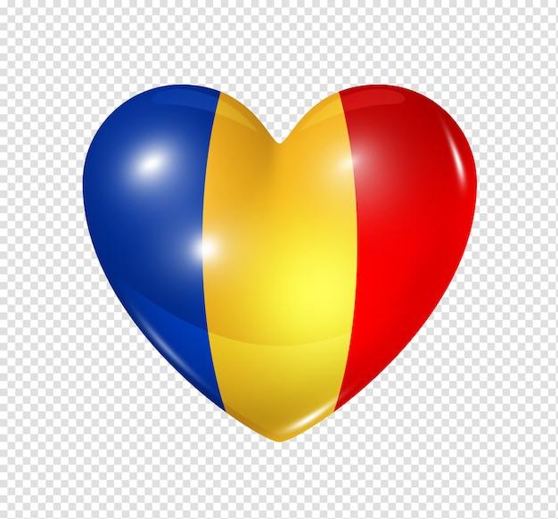 Ícone de coração com bandeira do chade