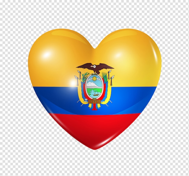 Ícone de coração com bandeira do equador