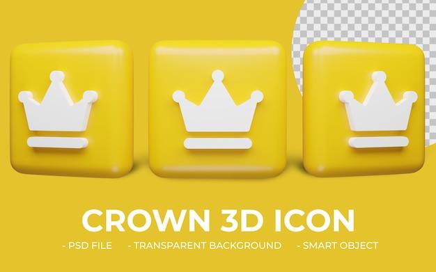 Ícone de coroa em renderização 3d isolado