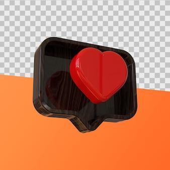 Ícone de curtir e comentar renderização em 3d
