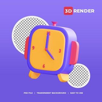 Ícone de despertador 3d com fundo transparente