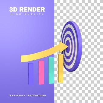 Ícone de destino de negócios de renderização 3d.