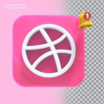 Ícone de dribbble de mídia social com notificação de campainha 3d