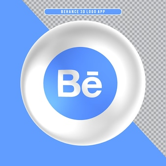 Ícone de elipse branco 3d logo behance