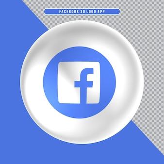 Ícone de elipse branco 3d logo facebook