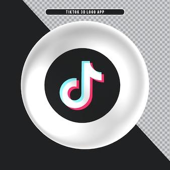Ícone de elipse branco 3d logo tiktok