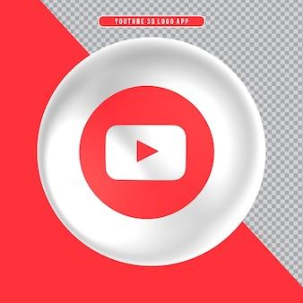 Ícone de elipse branco 3d logo youtube