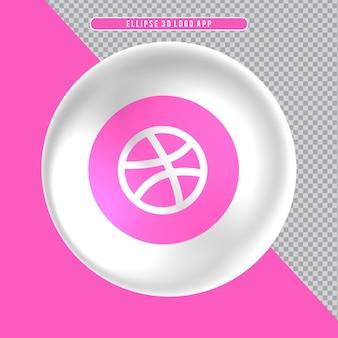 Ícone de elipse com logotipo 3d branco dribbble