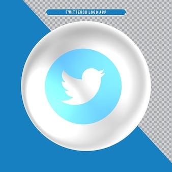 Ícone de elipse com logotipo 3d branco twitte