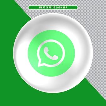 Ícone de elipse com logotipo 3d branco whatsapp