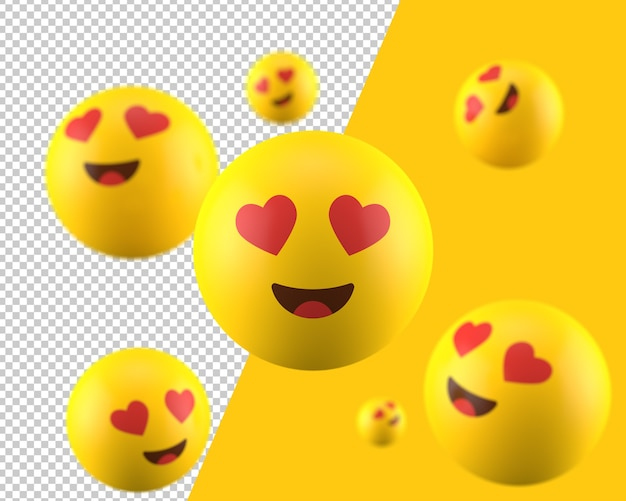 Ícone de emoticon 3d de olhos de coração