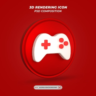 Ícone de engrenagem de jogo vermelho e branco em renderização 3d
