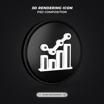 Ícone de estatísticas em preto e branco em renderização 3d