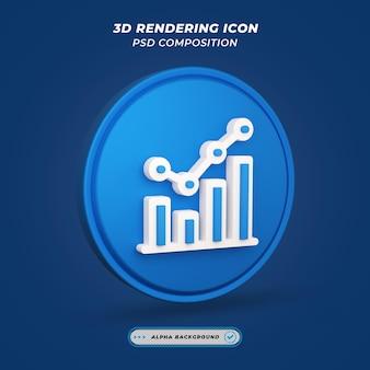 Ícone de estatísticas em renderização 3d