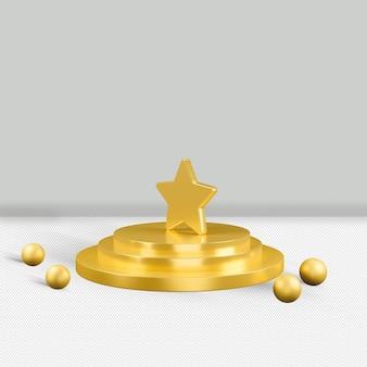 Ícone de estrela de ouro isolado renderização 3d