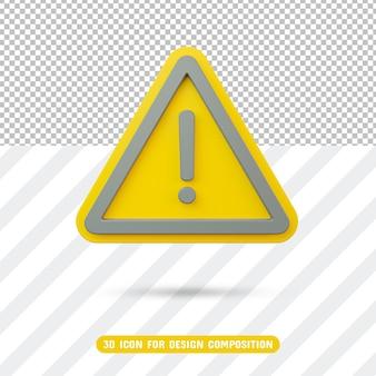 Ícone de exclamação 3d em triângulo amarelo