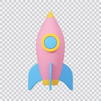 Ícone de foguete isolado na imagem renderizada em 3d branca