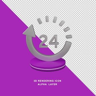 Ícone de fundo transparente ilustrado com renderização em 3d de 24 horas