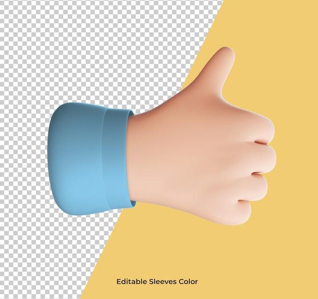 Ícone de gesto de ok com a mão dos desenhos animados isolado