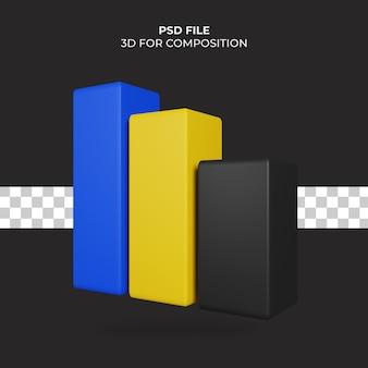 Ícone de gráfico de coluna de ilustração 3d premium psd