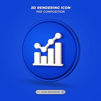 Ícone de gráfico de estatísticas em renderização 3d