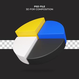 Ícone de gráfico de pizza de ilustração 3d premium psd