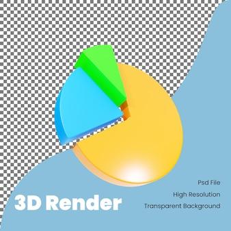 Ícone de gráfico de pizza de renderização 3d