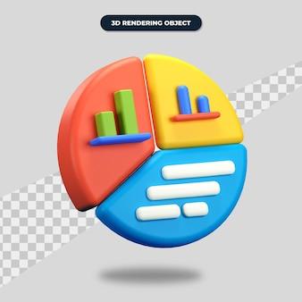 Ícone de gráfico de renderização 3d com gráfico de duas barras