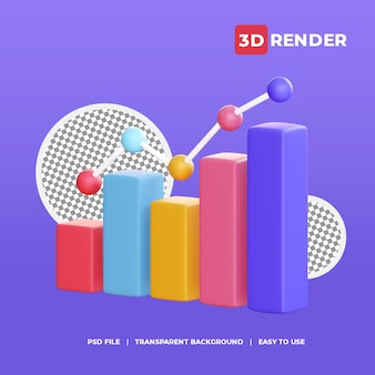 Ícone de gráfico de velas 3d com fundo transparente