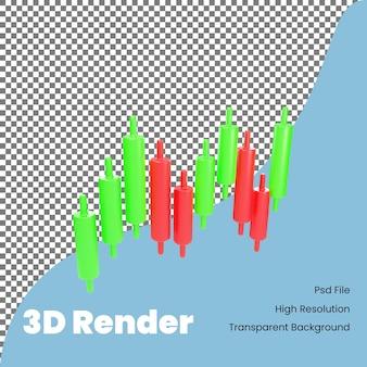 Ícone de gráfico de velas de renderização 3d para negociação