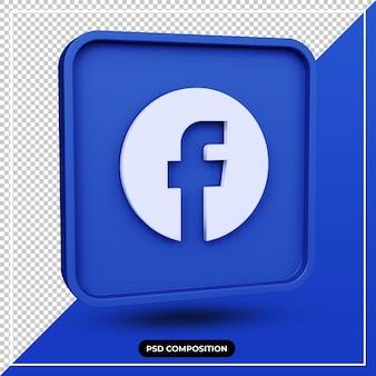 Ícone de ilustração 3d do facebook