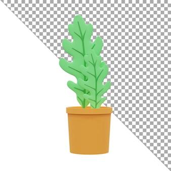 Ícone de ilustração de renderização 3d folhas verdes