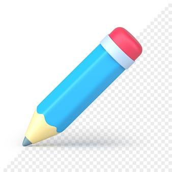 Ícone de lápis volumétrico azul renderização em 3d