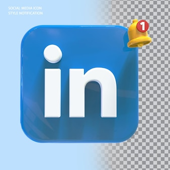 Ícone de likedin de mídia social com notificação de campainha 3d