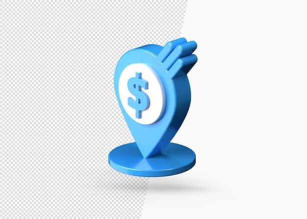 Ícone de localização de dinheiro do pino do ponteiro 3d isolado